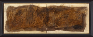 1) M. F. Husain, 'Cyprus Ten' (Diptych), 1981, 21 x 58.5 Inches, Mix Media on Paper