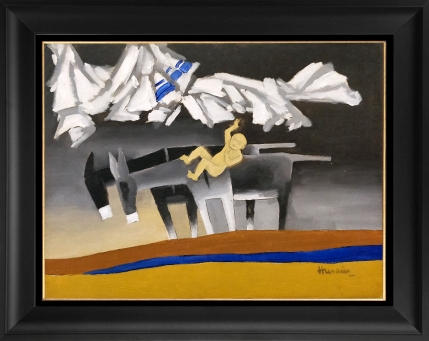 2) M. F. Husain, 'Mother Teresa Series, Baby Jesus and Two Donkeys', 18 x 24 Inches, Oil on Board