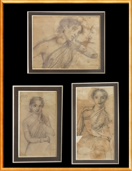 3) M. V. Dhurandhar, Untitled (Set of 3), 1910-1911, Pencil Drawing on Paper