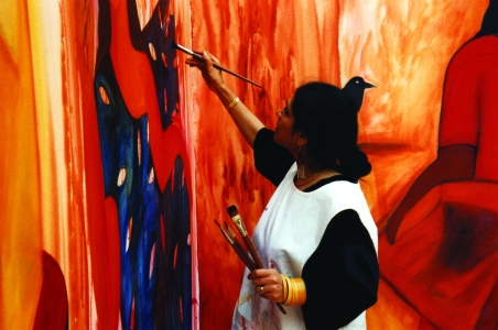 Rekha Rodwittiya painting - Songs of the Blood of the Weary for Dialogues of Peace- Geneva-Switzerland-1995